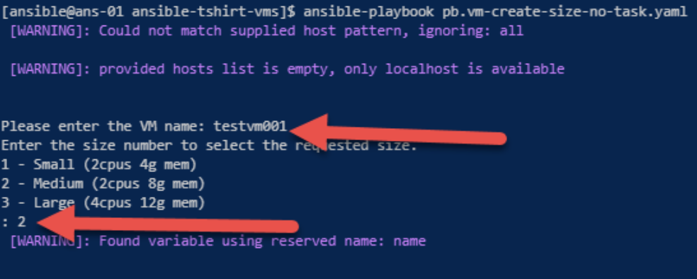 Ansible Variables, Prompts and T-Shirt Size VMs