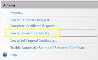 Create Domain Certificates